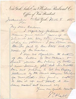 Autograph Letter Signed: PLATT, Thomas C. (1833-1910)