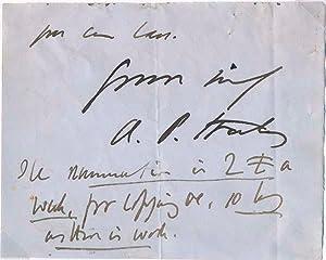 Autograph Note Signed (partial): STANLEY, Arthur P. (1815-81)