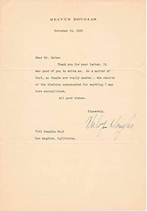 Typed Note Signed.: DOUGLAS, Melvyn (1901-81).