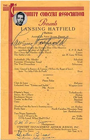 Signed Program.: HATFIELD, Lansing (1910-54).