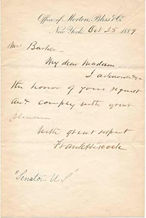 Autograph Note Signed.: HISCOCK, Frank (1834-1914).