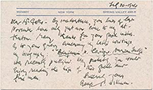 Autograph Note Signed.: HELLMAN, George S. (1878-1958).