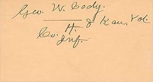 Signature: CODY, George W. (1841-1935)