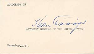 Signature.: CUMMINGS, Homer S. (1870-1956).