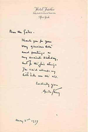 Autograph Note Signed.: STRONG, Austin (1881-1952).
