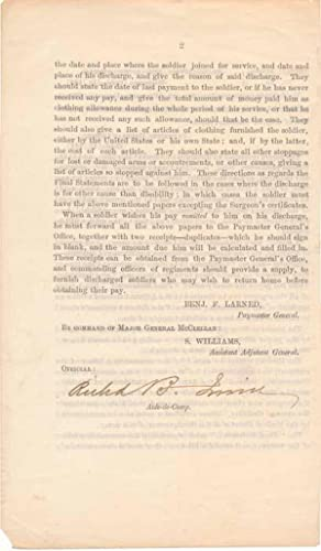 Printed Document Signed: IRWIN, Richard B. (1839-92)