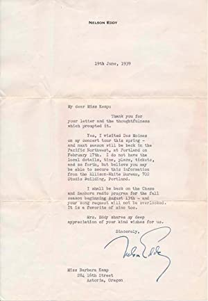 Typed Letter Signed.: EDDY, Nelson (1901-67).