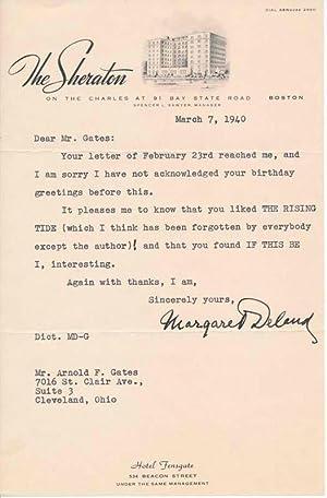 Typed Note Signed / Unsigned Portrait.: DELAND, Margaret (1857-1945).