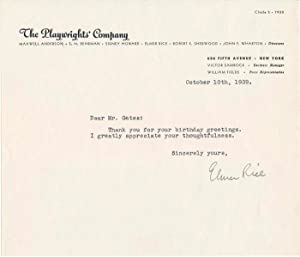 Typed Note Signed.: RICE, Elmer (1893-1967).