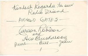 Inscription and Signature.: ROBISON, Carson (1890-1957).
