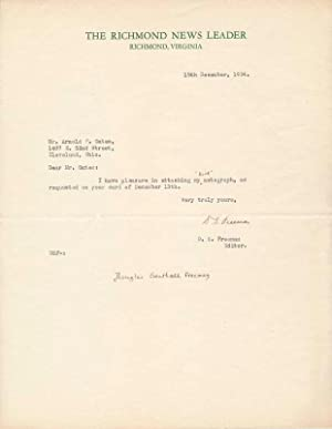 Typed Note Signed.: FREEMAN, Douglas Southall (1886-1953).