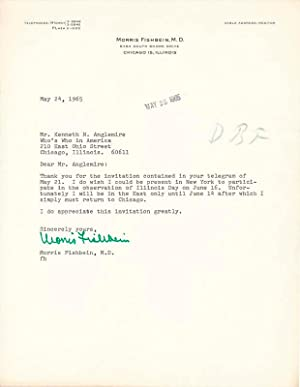 Typed Note Signed.: FISHBEIN, Morris (1889-1976).