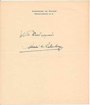 Signature and Inscription.: LABOULAYE, Andre Lefebvre de (1876-1966).