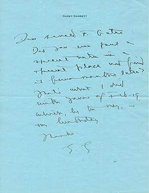 Autograph Letter Signed.: GARRETT, Garet (1878-1954).