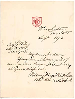 Autograph Note Signed: THATCHER, Henry Knox (1806-80)