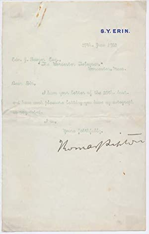 Typed Note Signed.: LIPTON, Thomas J. (1848-1931).
