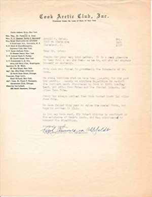Typed Letter Signed.: COOK, Frederick A.) SHAINWALD von AHLEFELDT, Ralph (ca. 1883-?).