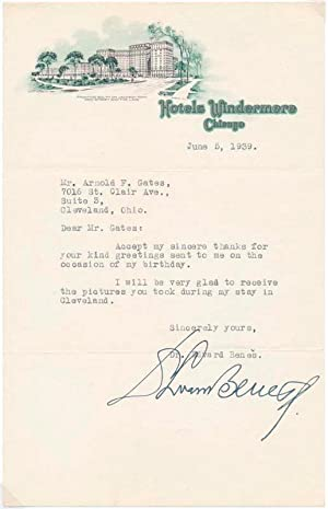 Typed Note Signed.: BENES, Edvard (1884-1948).