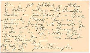 Autograph Note Signed: BURROUGHS, Julian (1878-1954)