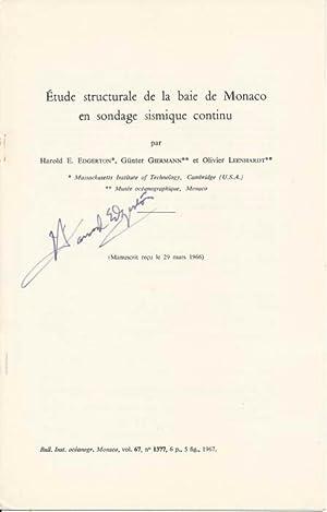 Étude structurale de la baie de Monaco en sondage sismique continu: EDGERTON, Harold E., ...