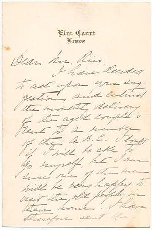 Autograph Letter Signed: SLOANE, Emily Vanderbilt (1874-1970)
