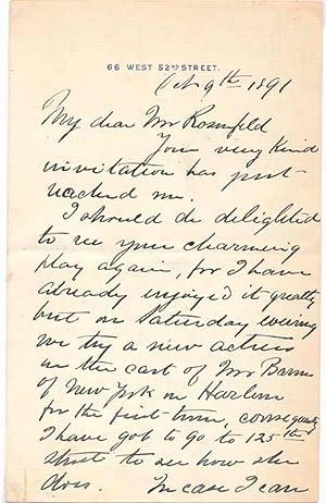 Autograph Letter Signed: GUNTER, Archibald C. (?-?)