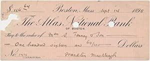 Partly-Printed Autograph Document Signed.: MacVEAGH, Franklin (1837-1934).