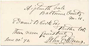 Signature and Inscribed Calling Card.: OWENS, John A. (1823-86).