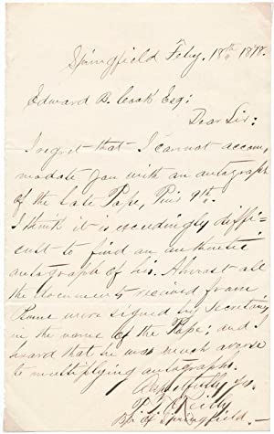Autograph Letter Signed: O'REILLY, Patrick Thomas (1833-92)