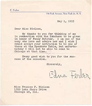 Typed Note Signed.: FERBER, Edna (1887-1968).