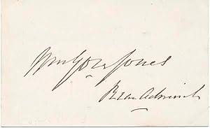 Signature.: JONES, William Gore (1826-88).