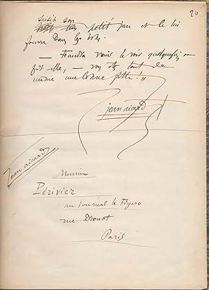Autograph Manuscript Signed: AICARD, Jean (1848-1921)