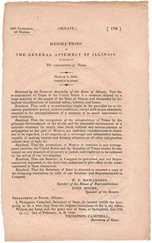 Resolutions of the General Assembly of Illinois, in Favor of the annexation of Texas: TEXAS, ...