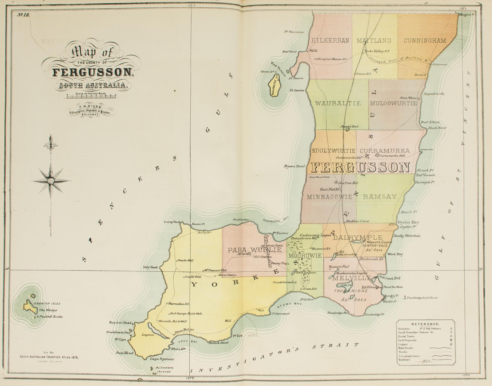 Map Of South Australia And Northern Territory.The New Counties Hundreds District Atlas