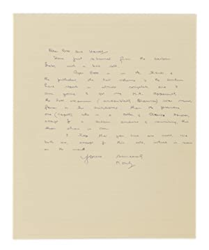 An autograph letter signed ('Monty') to Rose and Harold [Sheard]; one page small quarto, undated ...