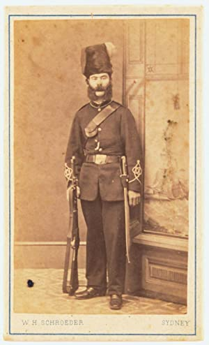 An albumen paper carte de visite photograph of a man in military uniform, complete with distinctive...