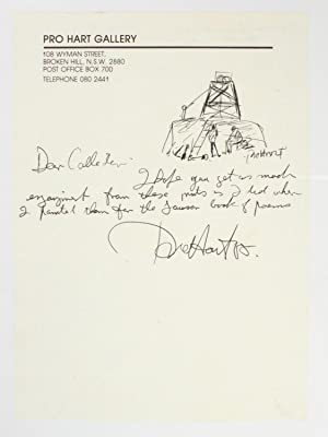 A short autograph letter signed by the artist, illustrated with a small signed ink drawing of a m...