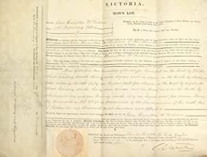 A land 'Grant by Purchase' to John Hamilton McLachlan for a 'Town Lot' in the Colony of Victoria,...