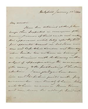 An autograph letter signed (small quarto, 2 pages; Holyhead, 12 January 1840) to an unidentified ...