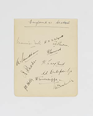 A detached autograph album leaf (160 x 130 mm) signed by eleven members of an English team (all ...