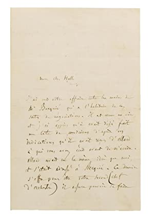 An autograph letter, in French, signed by Berlioz to his friend Charles Hallé, the German conduct...