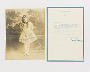 A typed letter signed by Mary Pickford: PICKFORD, Mary Pickford