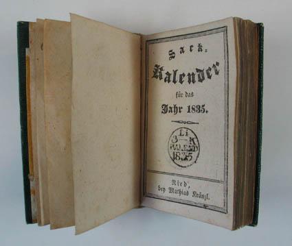 Sack-Kalender für das Jahr 1835. Ried, M.: Innviertler Kalender