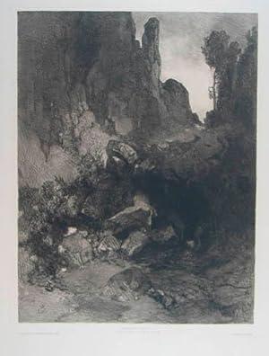 """Radierung """"Felslandschaft"""". Am unteren Blattrand mit typographischer: Jettmar Rudolf (1869-1939)"""