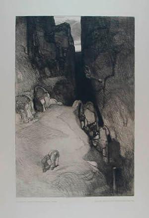 """Radierung """"Felsschlucht"""". Am unteren Blattrand mit typographischer: Jettmar Rudolf (1869-1939)"""