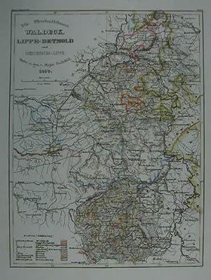 Die Fürstenthümer: Waldeck, Lippe-Detmold und Schauenburg-Lippe. Grenzkolorierte: Waldeck - Lippe
