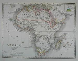 """Africa. Grenzkolorierte Stahlstich-Karte von Radefeld aus """"Meyer`s: Afrika"""
