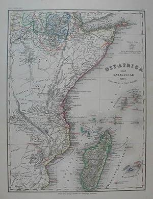 Ost-Africa und Madagascar. Grenzkolorierte Stahlstich-Karte von Radefeld: Ostafrika