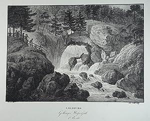 Gollinger Wasserfall 1te Ansicht. Lithographie v. Wolf: Golling - Wasserfall