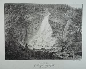 Gollinger Wasserfall 2te Ansicht. Lithographie v. Saar: Golling - Wasserfall